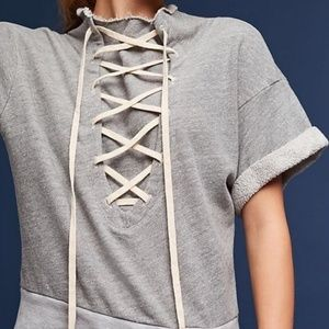T.LA By ANTHROPOLOGIE Grey Tie Up Short Sleeve L